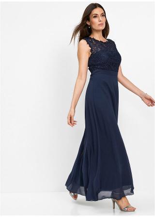 Maxi večerné šaty s čipkou dámské modrá 36,38,40,42,44,46,48,50,52,54