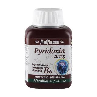 MedPharma Pyridoxin 20 mg – doplněk stravy s obsahem vitamínu B6 60 tbl.   7 tbl. ZDARMA