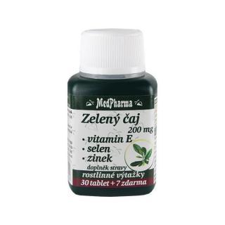 MedPharma Zelený čaj 200 mg   vitamín E   selen   zinek 30 tbl.   7 tbl. ZDARMA
