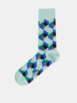 Mentolové vzorované ponožky Happy Socks Optic Sguare pánské mentolová 36-40