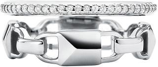 Michael Kors Moderné dvojitý strieborný prsteň MKC1025AN040 57 mm