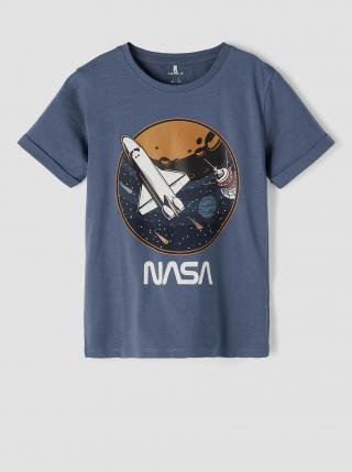 Modré chlapčenské tričko s potlačou name it Nasa modrá 146-152