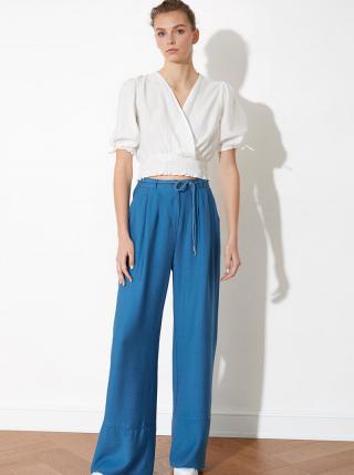 Modré dámske široké nohavice Trendyol dámské modrá L