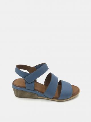 Modré kožené sandálky na plnom podpätku WILD dámské modrá 38