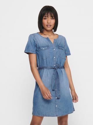 Modré rifľové košeľové šaty Jacqueline de Yong Saint dámské modrá M