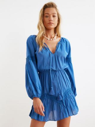 Modré šaty s zaväzovaním Trendyol dámské modrá S