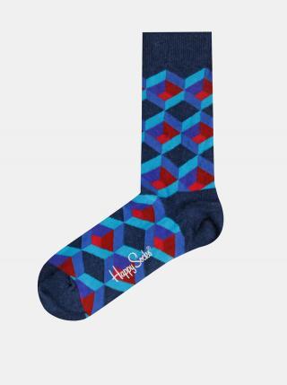 Modré vzorované ponožky Happy Socks Optic Square pánské modrá 36-40