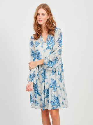 Modro-biele kvetované voľné šaty VILA Tullan dámské biela XL