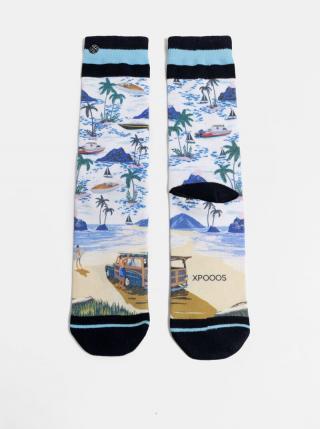 Modro-biele pánske vzorované ponožky XPOOOS pánské biela 39-42