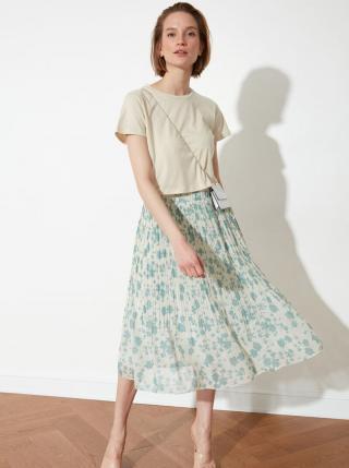 Modro-krémová kvetovaná plisovaná midi sukňa Trendyol dámské L