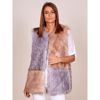Modular gray and beige fur vest dámské Neurčeno S
