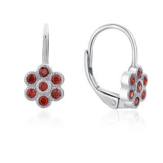 MOISS Hravé strieborné náušnice s červenými zirkónmi Kytičky E0002229 dámské