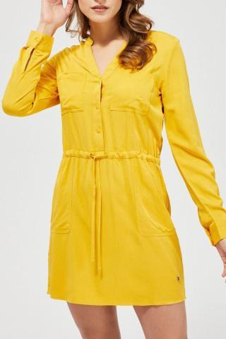 Moodo horčicové košeľové šaty s viazaním v páse - XL dámské žltá XL
