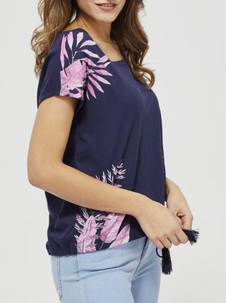 Moodo tmavomodré tričko s viazaním dámské modrá L