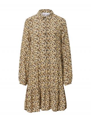 MOSS COPENHAGEN Košeľové šaty Wilda Morocco  čierna / biela / zlatá žltá / krémová dámské 34