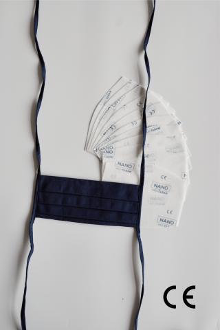 NANO MED.CLEAN Rouška skládaná   10x NANO MED.CLEAN  filtr - B05/modrá f00016-05