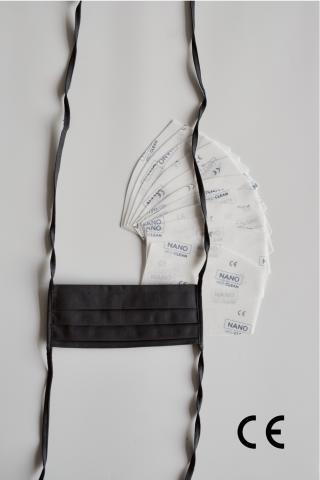 NANO MED.CLEAN Rouška skládaná   10x NANO MED.CLEAN  filtr - B09/šedá f00016-09