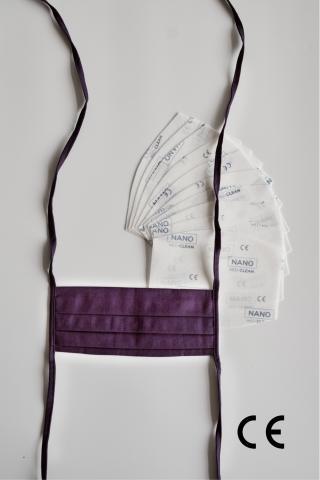 NANO MED.CLEAN Rouška skládaná   10x NANO MED.CLEAN  filtr - B17/fialová f00016-17