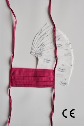 NANO MED.CLEAN Rouška skládaná   10x NANO MED.CLEAN  filtr - B82/tmavá ružová f00016-82
