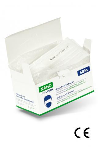 Nanovlákenné roušky Nano Med.Clean 50 ks balení - B03/biela f00023