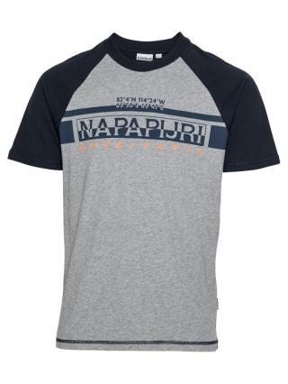NAPAPIJRI Tričko Sirilo  čierna / sivá melírovaná / námornícka modrá / koralová pánské M