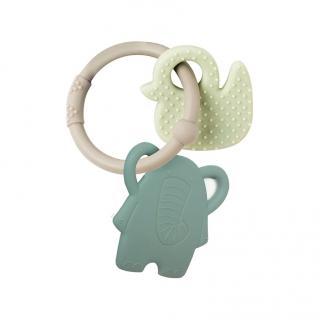 NATTOU Silikónová hryzačka BPA free Lapidou sloník zelená