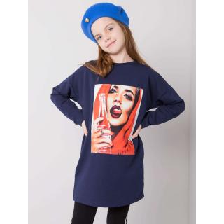 Navy blue cotton tunic for a girl dámské Neurčeno 164