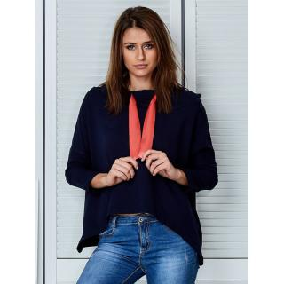 Navy blue hoodie with a decorative ribbon dámské Neurčeno L