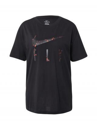 NIKE Funkčné tričko  čierna / oranžovo červená dámské XS