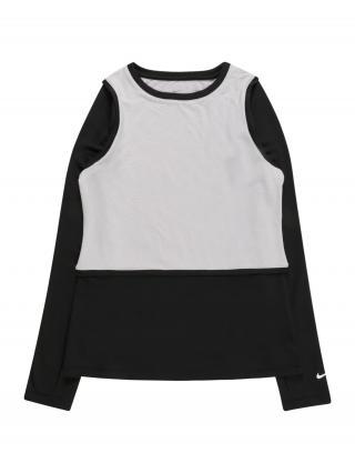 NIKE Funkčné tričko  sivá / čierna / biela dámské 122-128