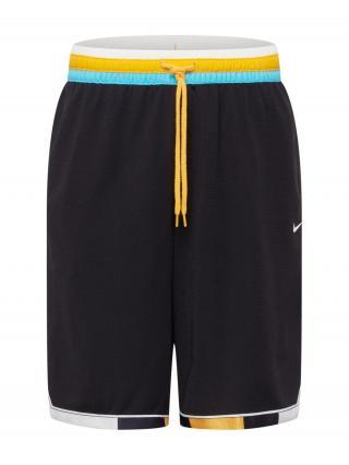NIKE Športové nohavice  čierna / biela / neónovo modrá / žltá pánské S