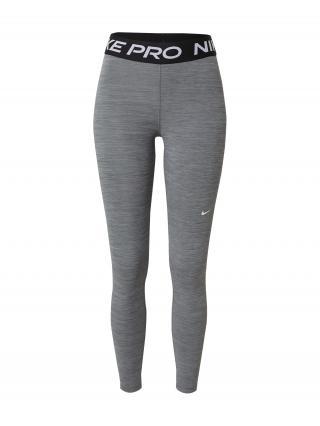 NIKE Športové nohavice  čierna / biela / sivá melírovaná dámské L