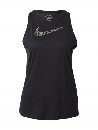 NIKE Športový top  čierna / zlatá / sivá / sivá melírovaná dámské XS