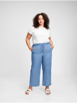 Nohavice high rise chambray wide-leg pants Modrá dámské XS