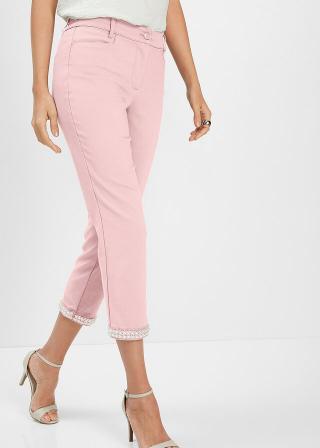 Nohavice s perlovou aplikáciou dámské ružová 42,36,38,40,44,46,48,50,52,54
