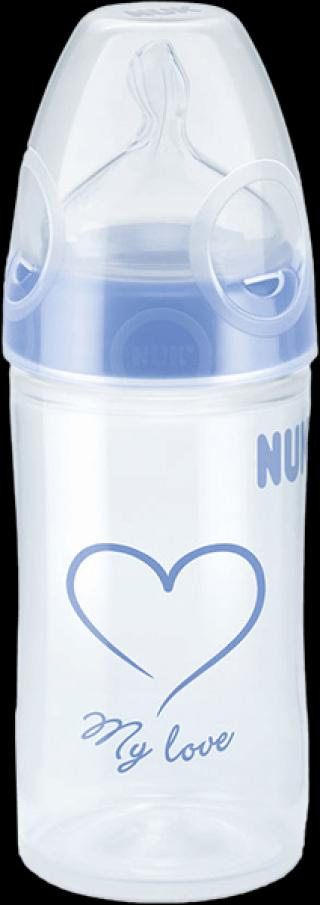 NUK New Classic Fľaša Love PP 150 ml, silikón, veľkosť 1, , M – rôzne motívy modrá