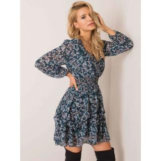 OCH BELLA Black and teal floral dress dámské Neurčeno One size