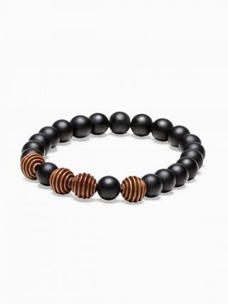 Ombre Clothing Mens bracelet with beads A204 pánské Black One size