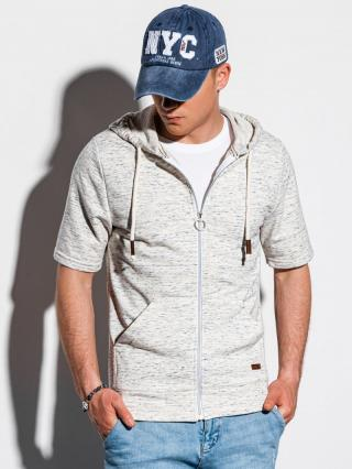 Ombre Clothing Mens hoodie with short sleeves B1068 pánské Grey S