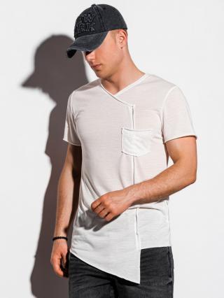 Ombre Clothing Mens plain t-shirt S1215 pánské White S
