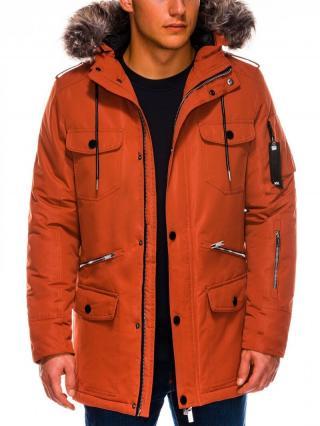 Ombre Clothing Mens winter parka jacket C410 pánské Orange L