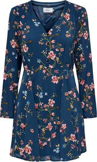 ONLY Dámske šaty ONLCLAIRE L / S SHORT DRESS WVN Dark Denim EMPOWERED FLOWER 38 dámské