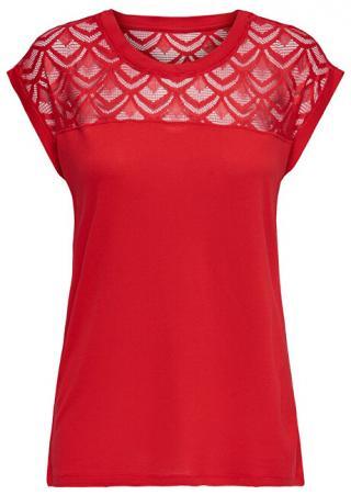 ONLY Dámske tričko ONLNICOLE S/S MIX TOP NOOS High Risk Red L
