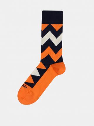 Orange Patterned Socks Fusakle Zigzag pánské Oranžová 35-38