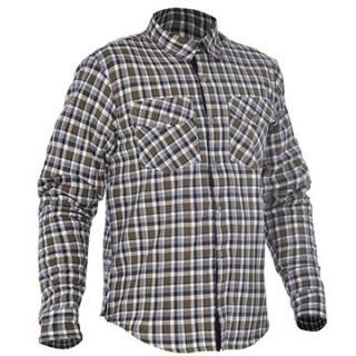 OXFORD košile KICKBACK CHECKER s Kevlar® podšívkou zelená khaki/bílá