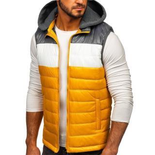 Pánská jarní vesta s kapucí 6105 - žlutá, pánské Neurčeno XXL