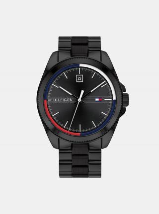 Pánske hodinky s čiernym ocelovým remienkom Tommy Hilfiger pánské čierna