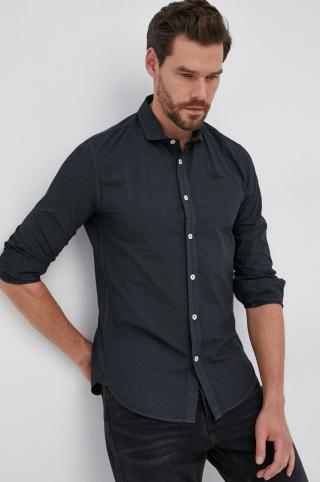 Pepe Jeans - Bavlnená košeľa Tim pánské čierna S
