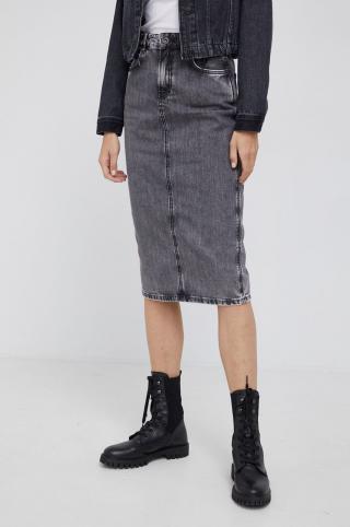 Pepe Jeans - Rifľová sukňa Piper dámské sivá XS