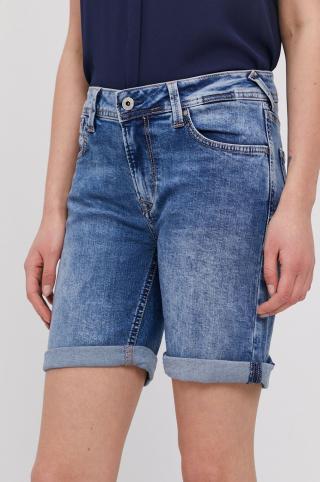Pepe Jeans - Rifľové krátke nohavice Poppy dámské modrá 27